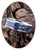 JB Memorials Tungsten Carbide of Black Ceramic Opaal  As Ring - OP401