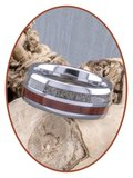 JB Memorials Exclusive Natureline Wood / Tungsten  Houten Ring met As - WR004