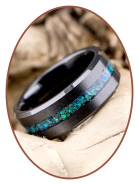 Ceramic Zirconium Design Opal Herren Asche Ring - RB048BO