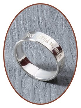925 Sterling Silber Design Text Gedenk Ring 5mm - RB066