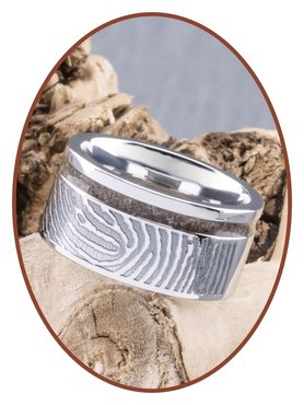 JB Memorials Cobalt Chrome Design Damen Fingerabdruck Asche Ring - RB046DV
