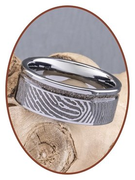 Tungsten Carbide Design Herren Fingerabdruck Asche Ring - RB046HV