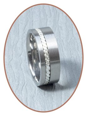 Titanium Silber Design Text Gedenk Ring - JB127