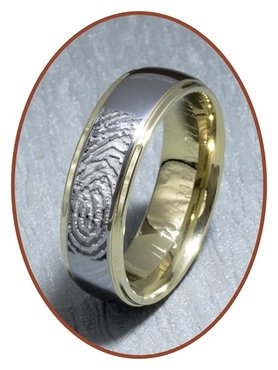 Tungsten Carbide 'Gold' Fingerabdruck Gedenk Ring - AA001V