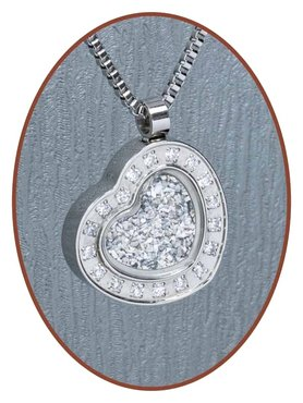 Stainless Steel Zwarovski Cremation Ash/Hair Pendant - B045