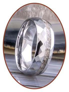 Tungsten Carbide Facet Design Damen / Herren Asche Ring - WR001