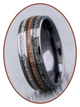 JB Memorials Naturline Ceramic / Wood Duo Asche Ring - WR015