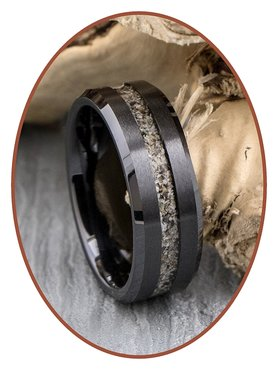Ceramic Zirconium Design Herren Asche Ring - RB048B