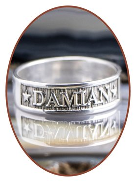 925 Sterling Silber Design Namen Gedenk Ring - RB067N